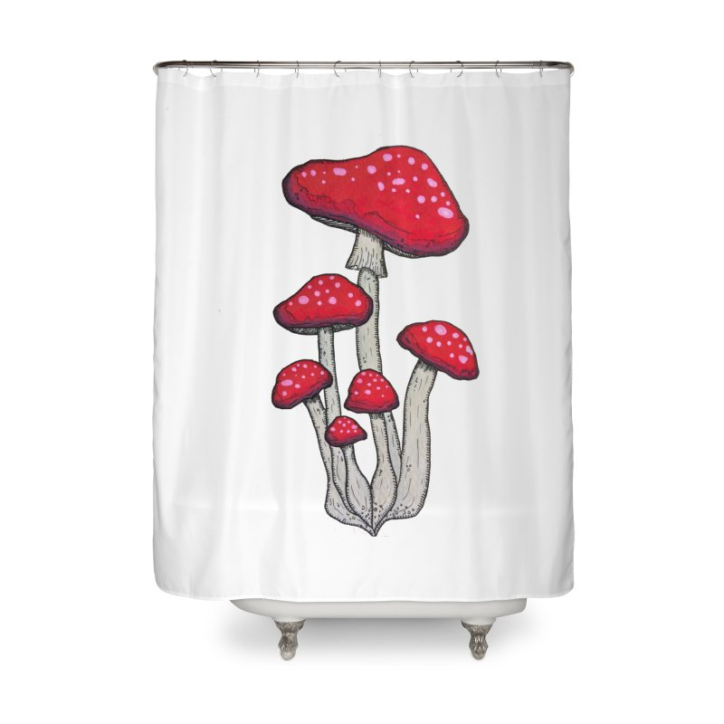 Champignon Rouge Home Shower Curtain by Thistleroot's Artist Shop