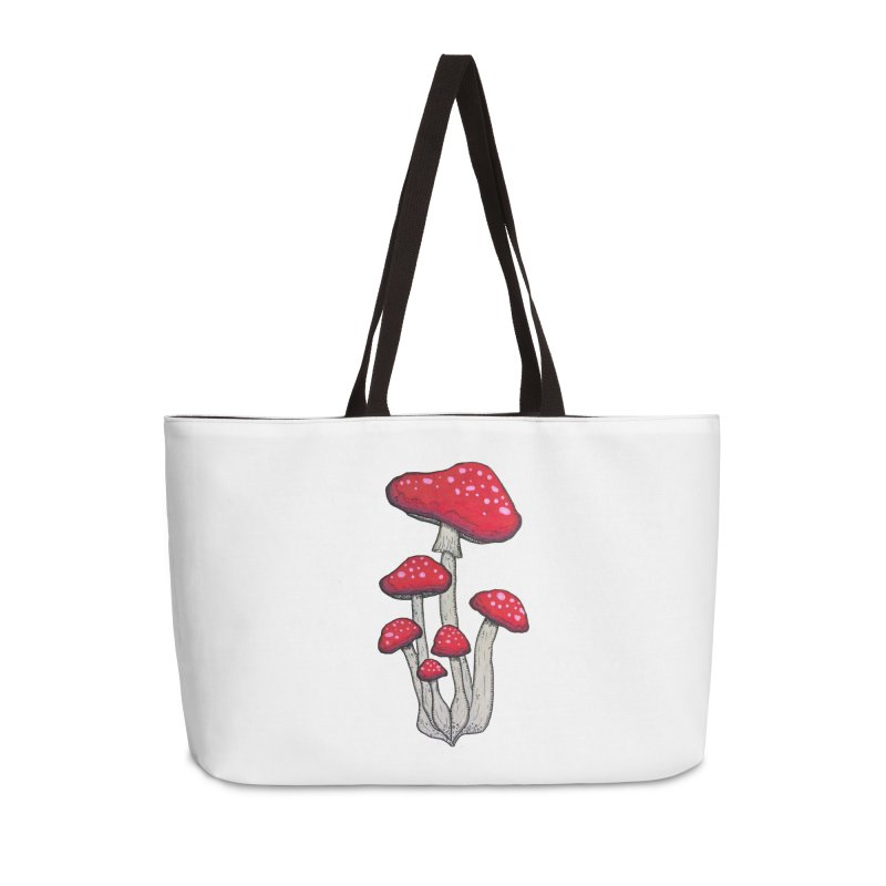 Champignon Rouge Accessories Weekender Bag Bag by Thistleroot's Artist Shop