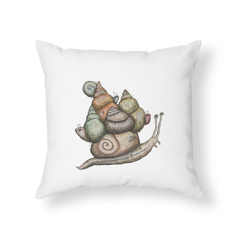 King Castle Snail Home Throw Pillow by Thistleroot's Artist Shop