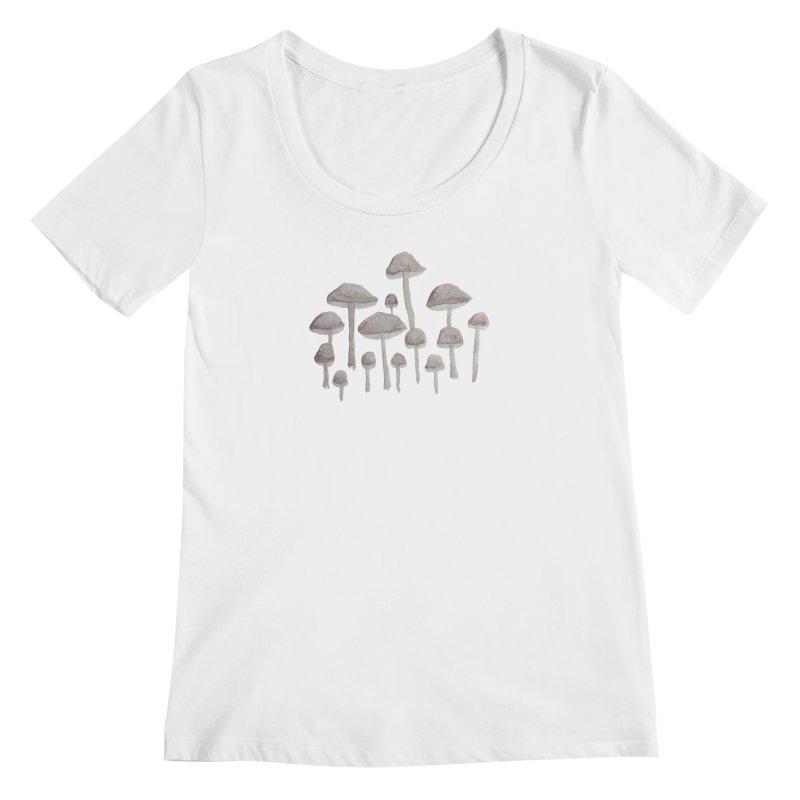 Pin Drop Mushrooms  Women's Scoopneck by Thistleroot's Artist Shop