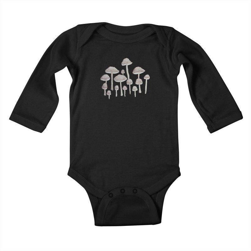 Pin Drop Mushrooms  Kids Baby Longsleeve Bodysuit by Thistleroot's Artist Shop