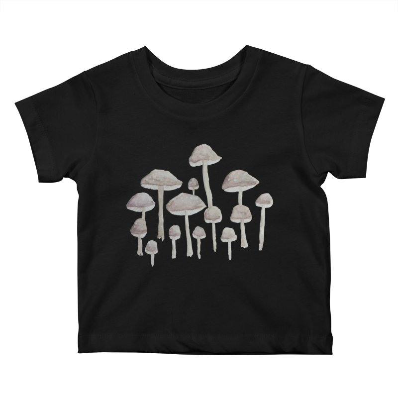 Pin Drop Mushrooms  Kids Baby T-Shirt by Thistleroot's Artist Shop