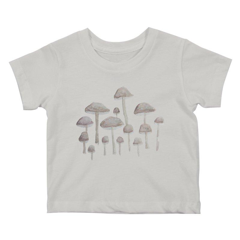 Pin Drop Mushrooms  Kids Baby T-Shirt by Thistleroot's Artist Shop