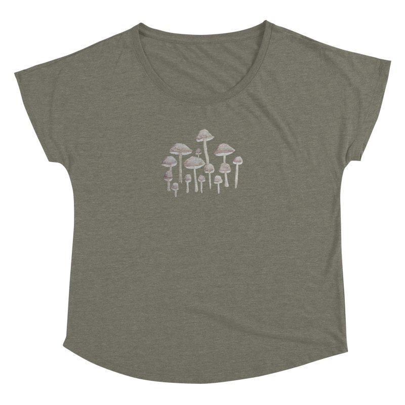 Pin Drop Mushrooms  Women's Dolman Scoop Neck by Thistleroot's Artist Shop