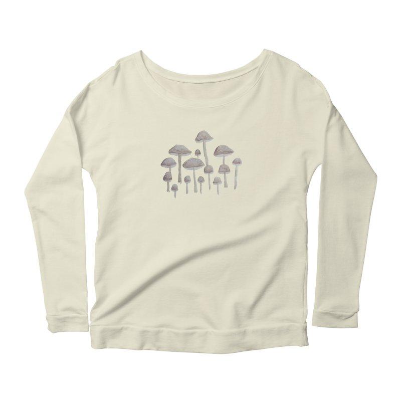 Pin Drop Mushrooms  Women's Scoop Neck Longsleeve T-Shirt by Thistleroot's Artist Shop