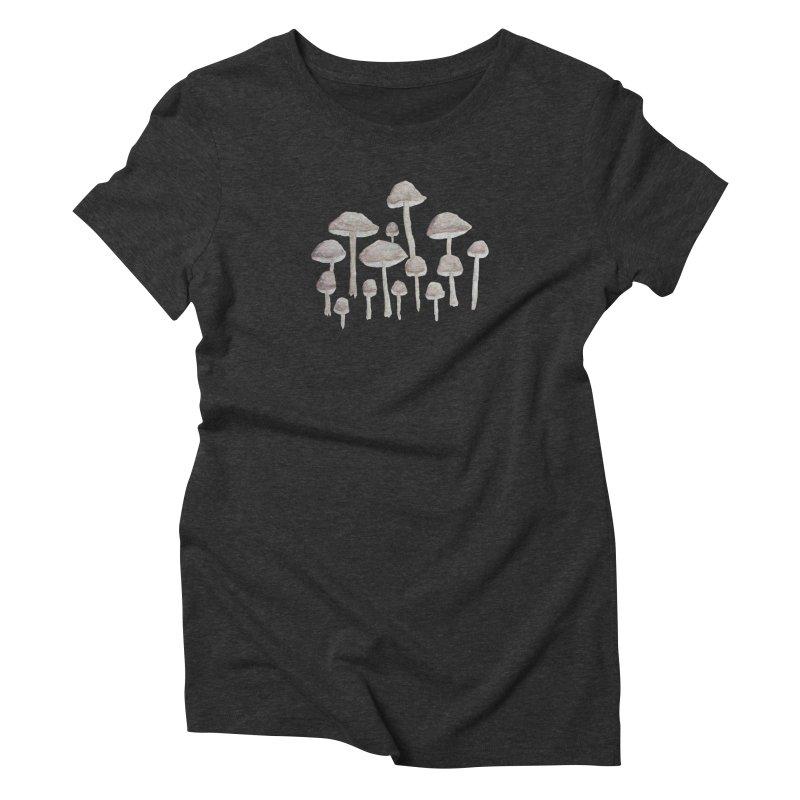 Pin Drop Mushrooms  Women's Triblend T-Shirt by Thistleroot's Artist Shop