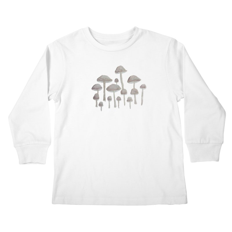 Pin Drop Mushrooms  Kids Longsleeve T-Shirt by Thistleroot's Artist Shop