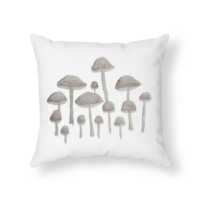 Pin Drop Mushrooms  Home Throw Pillow by Thistleroot's Artist Shop