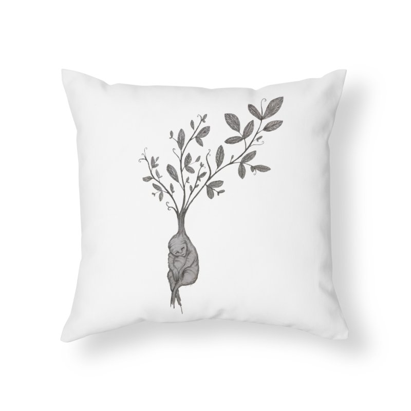 Sleeping Baby Root Home Throw Pillow by Thistleroot's Artist Shop