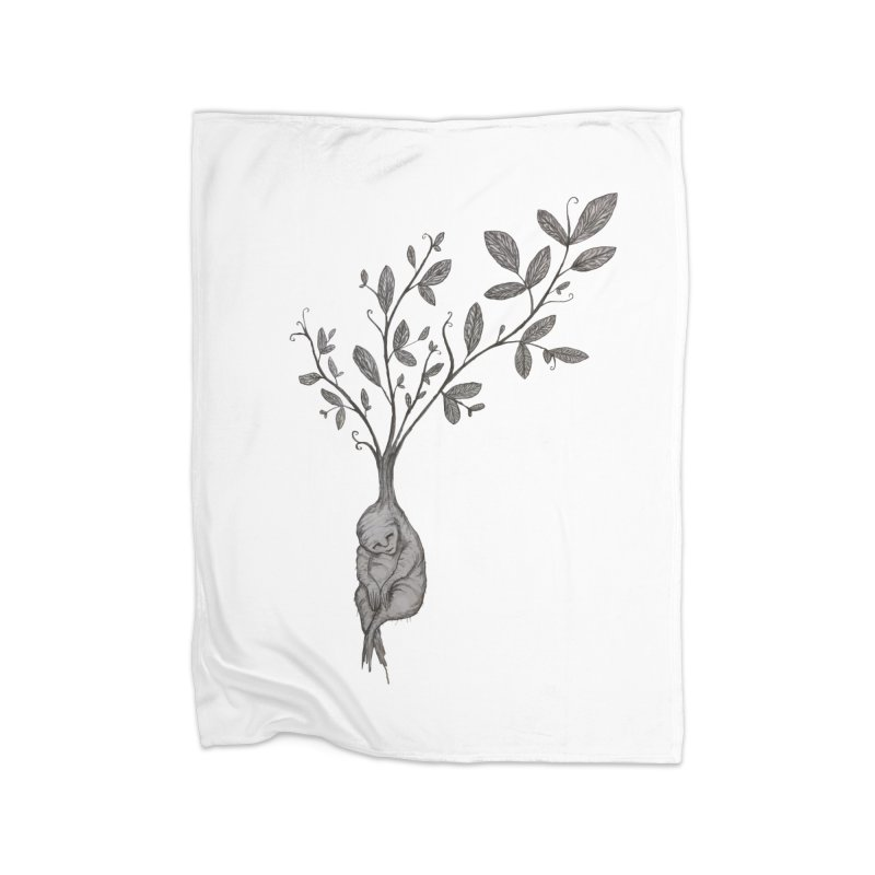Sleeping Baby Root Home Fleece Blanket Blanket by Thistleroot's Artist Shop