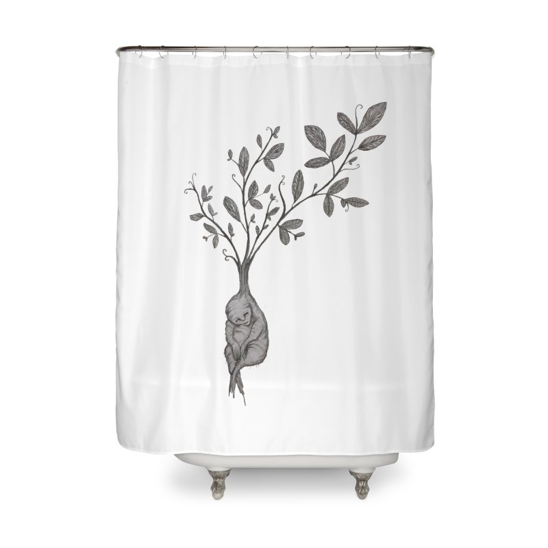 Sleeping Baby Root Home Shower Curtain by Thistleroot's Artist Shop