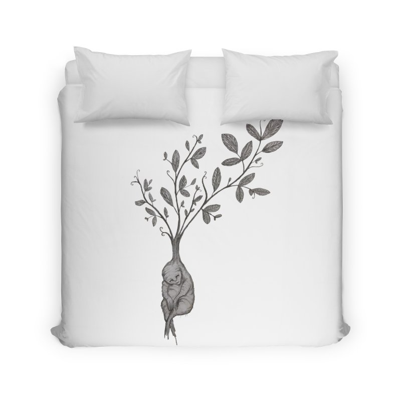 Sleeping Baby Root Home Duvet by Thistleroot's Artist Shop