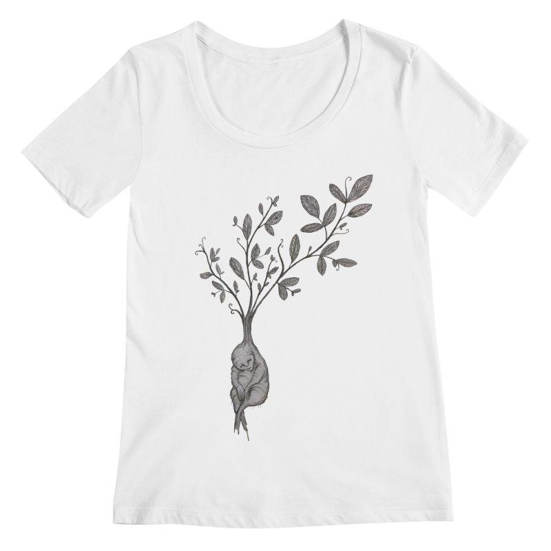 Sleeping Baby Root Women's Regular Scoop Neck by Thistleroot's Artist Shop