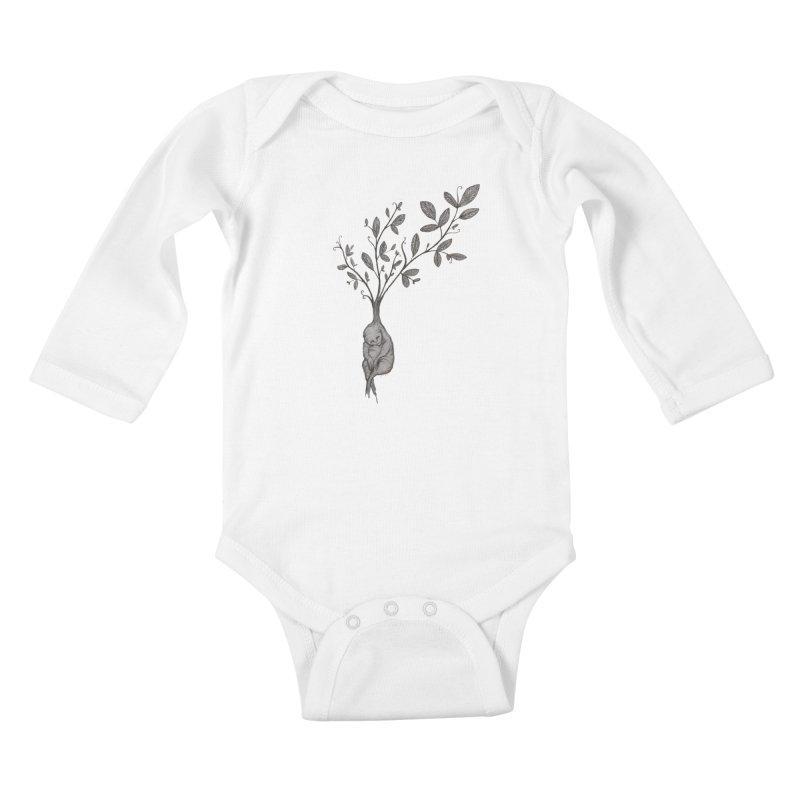 Sleeping Baby Root Kids Baby Longsleeve Bodysuit by Thistleroot's Artist Shop