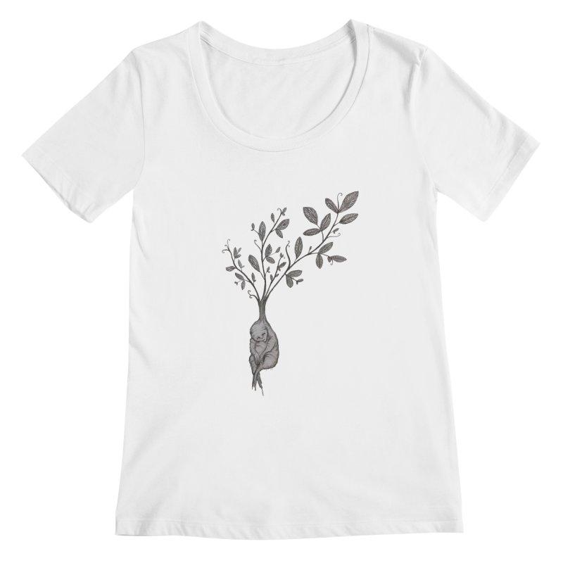 Sleeping Baby Root Women's Scoopneck by Thistleroot's Artist Shop