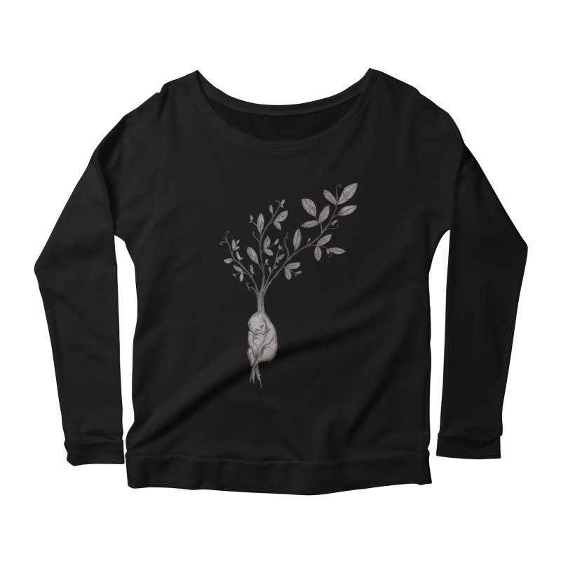 Sleeping Baby Root Women's Scoop Neck Longsleeve T-Shirt by Thistleroot's Artist Shop