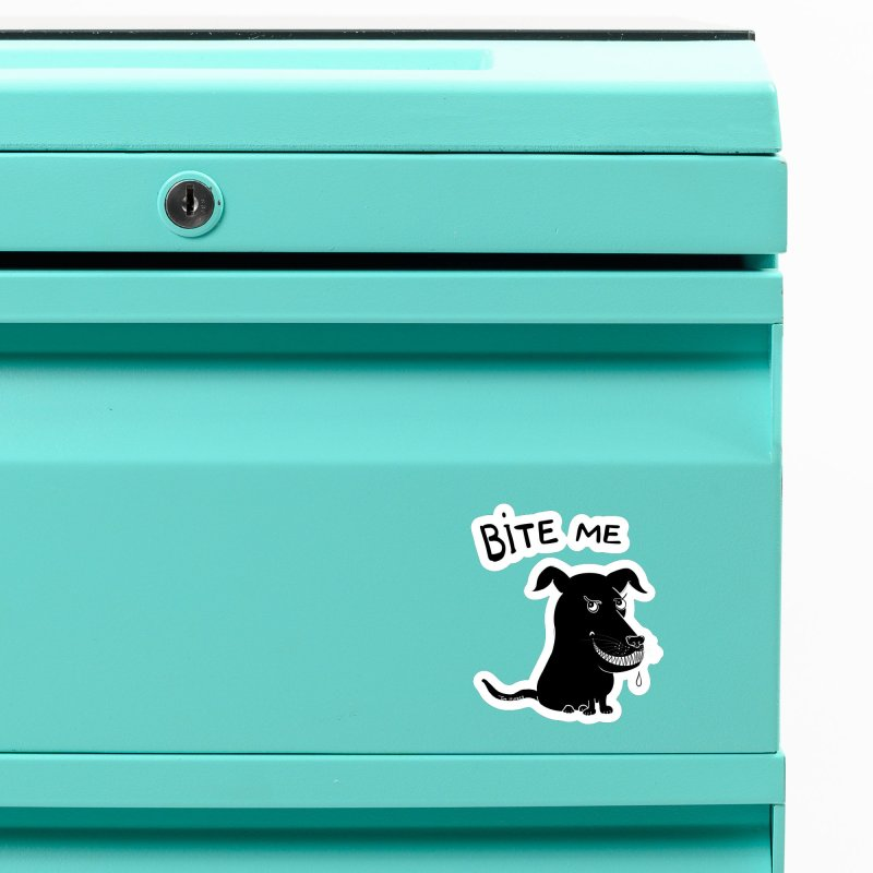 Bite me (black dog 'Blitz') Accessories Magnet by Timhupkes's Artist Shop