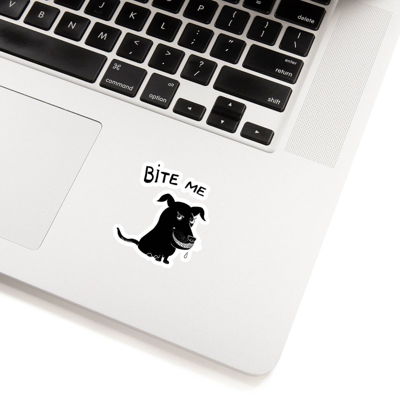 Bite me (black dog 'Blitz') Accessories Sticker by Timhupkes's Artist Shop