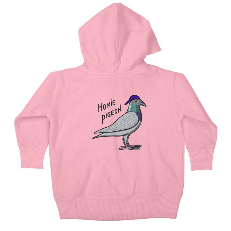 Homie Pigeon Kids Baby Zip-Up Hoody by Timhupkes's Artist Shop