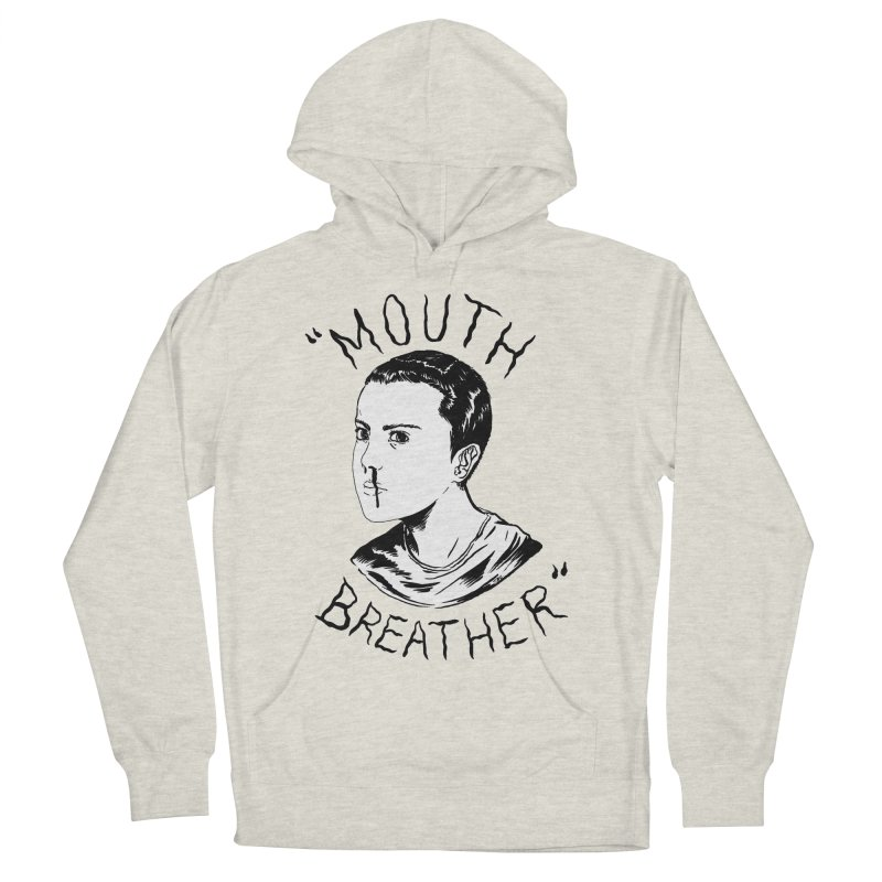 Mouth Breather (white) Men's French Terry Pullover Hoody by Tina Lugo's Artist Shop