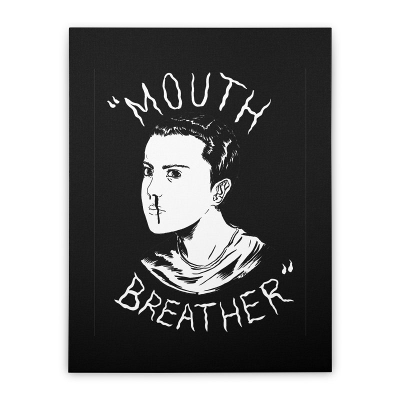 Mouth Breather (Black) Home Stretched Canvas by Tina Lugo's Artist Shop