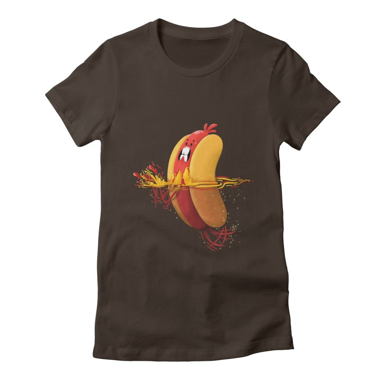 Hotdoggy Paddle Women's Fitted T-Shirt by TipTop's Artist Shop
