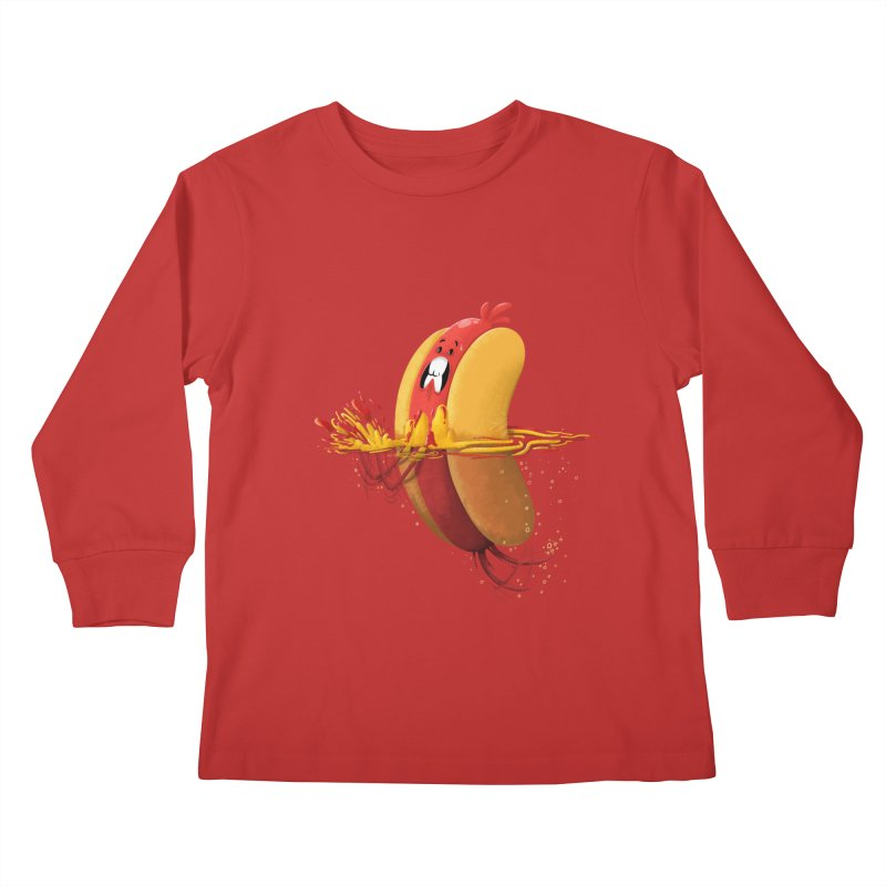Hotdoggy Paddle Kids Longsleeve T-Shirt by TipTop's Artist Shop