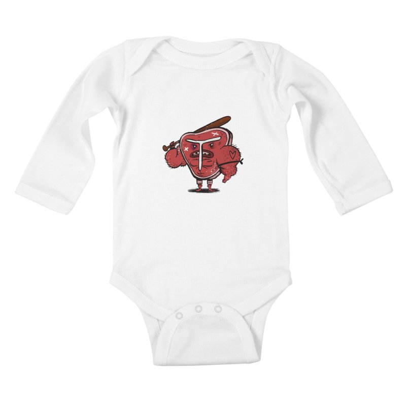 Tough Steak Kids Baby Longsleeve Bodysuit by TipTop's Artist Shop