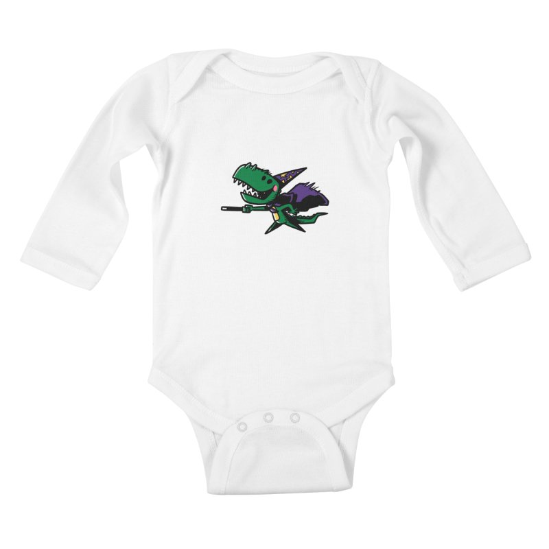 Dino Wizard Kids Baby Longsleeve Bodysuit by TipTop's Artist Shop