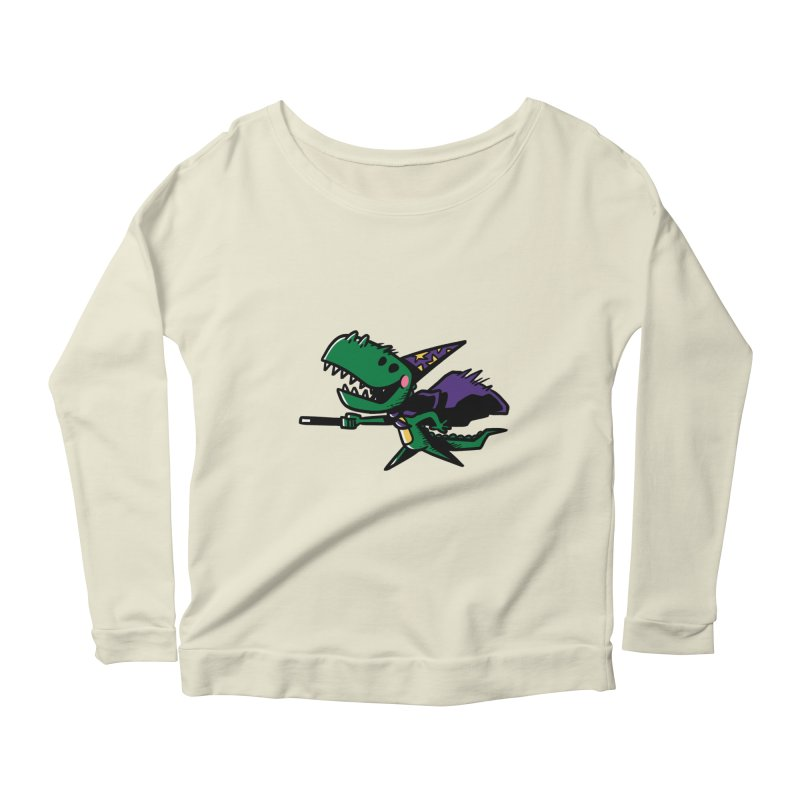 Dino Wizard Women's Longsleeve Scoopneck  by TipTop's Artist Shop