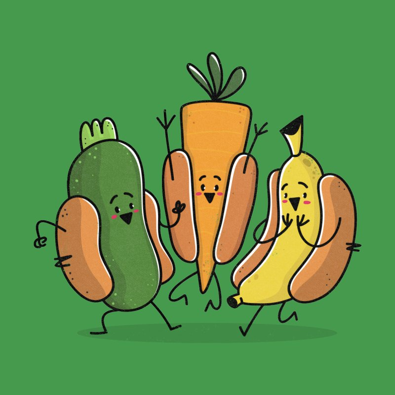 Fruit and veggie hotdogs by TipTop's Artist Shop