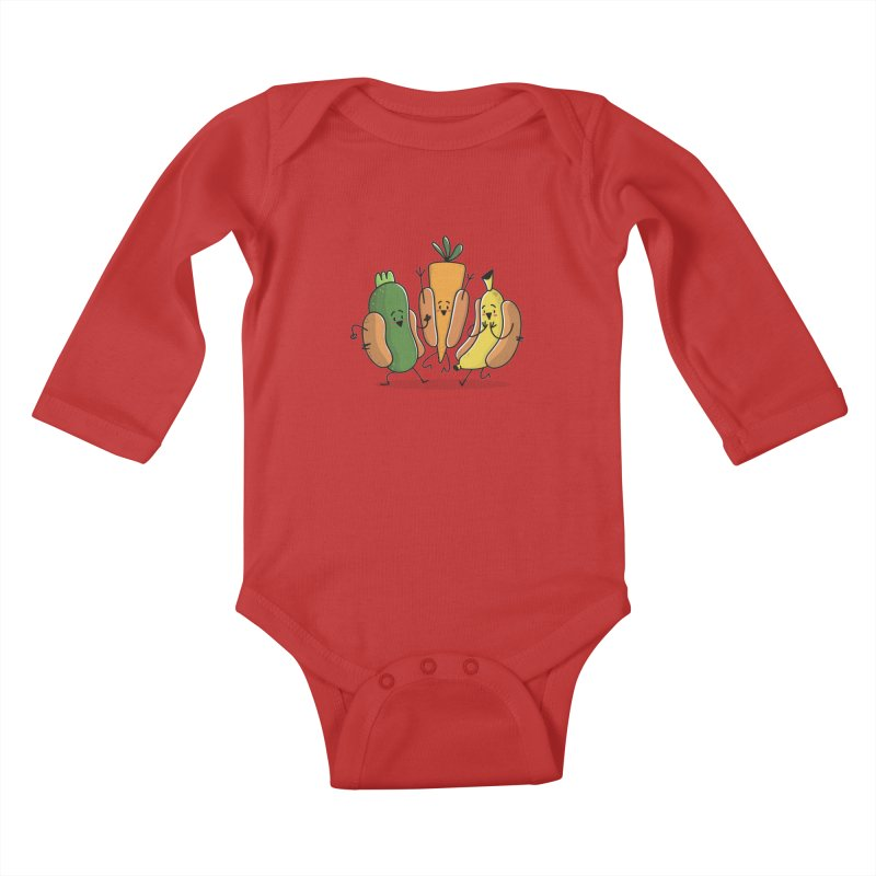 Fruit and veggie hotdogs Kids Baby Longsleeve Bodysuit by TipTop's Artist Shop