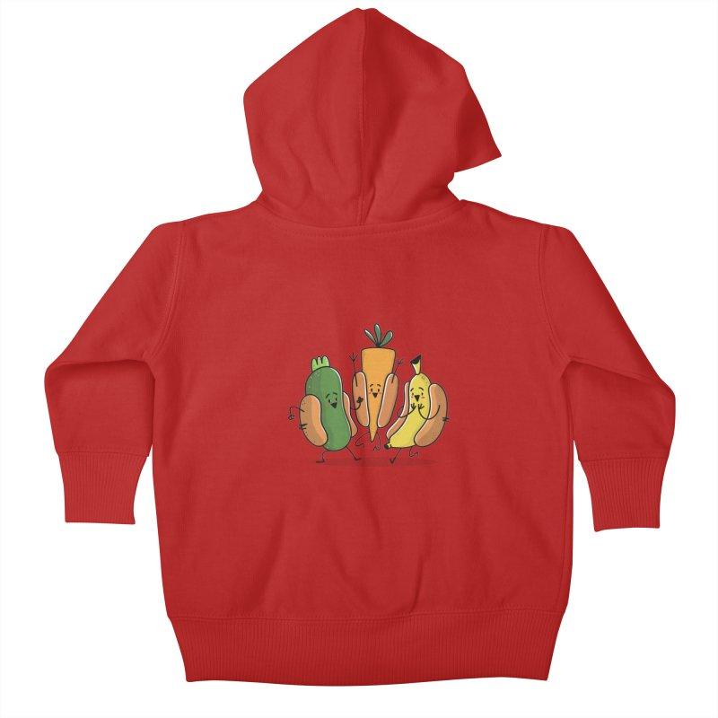 Fruit and veggie hotdogs Kids Baby Zip-Up Hoody by TipTop's Artist Shop