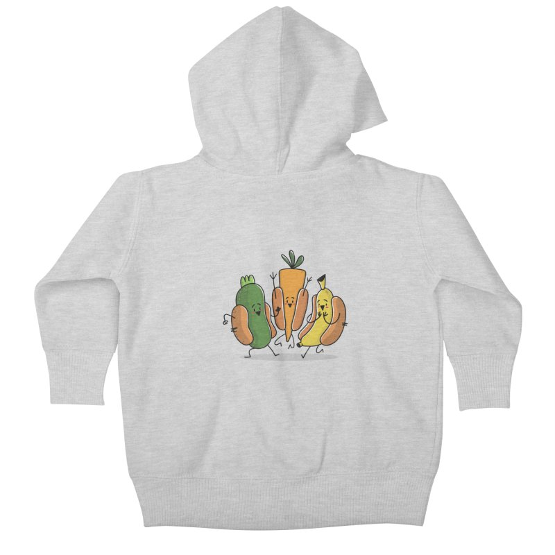 Fruit and veggie hotdogs Kids Baby Zip-Up Hoody by TipTop's Artist Shop