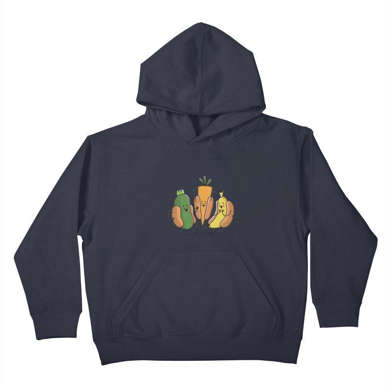Fruit and veggie hotdogs Kids Pullover Hoody by TipTop's Artist Shop