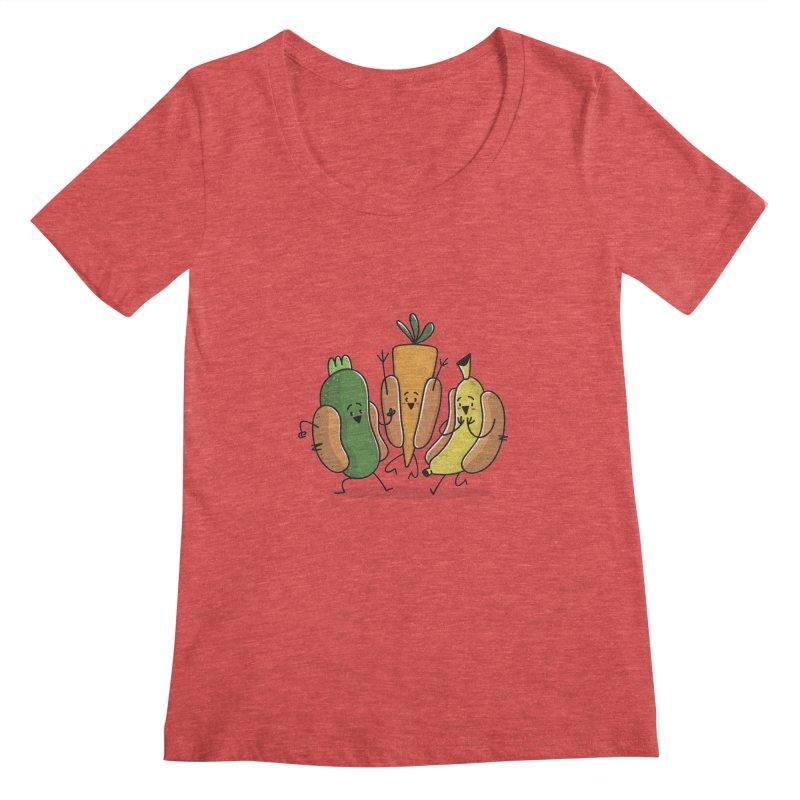 Fruit and veggie hotdogs Women's Scoopneck by TipTop's Artist Shop