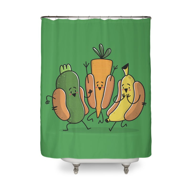 Fruit and veggie hotdogs Home Shower Curtain by TipTop's Artist Shop