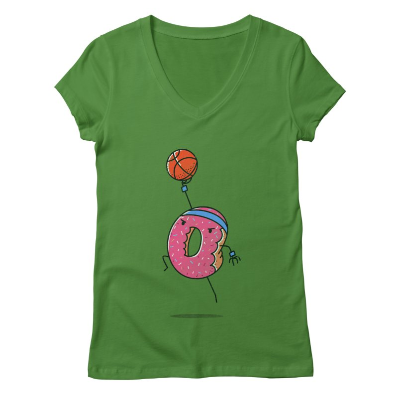 Dunking Donut Women's V-Neck by TipTop's Artist Shop