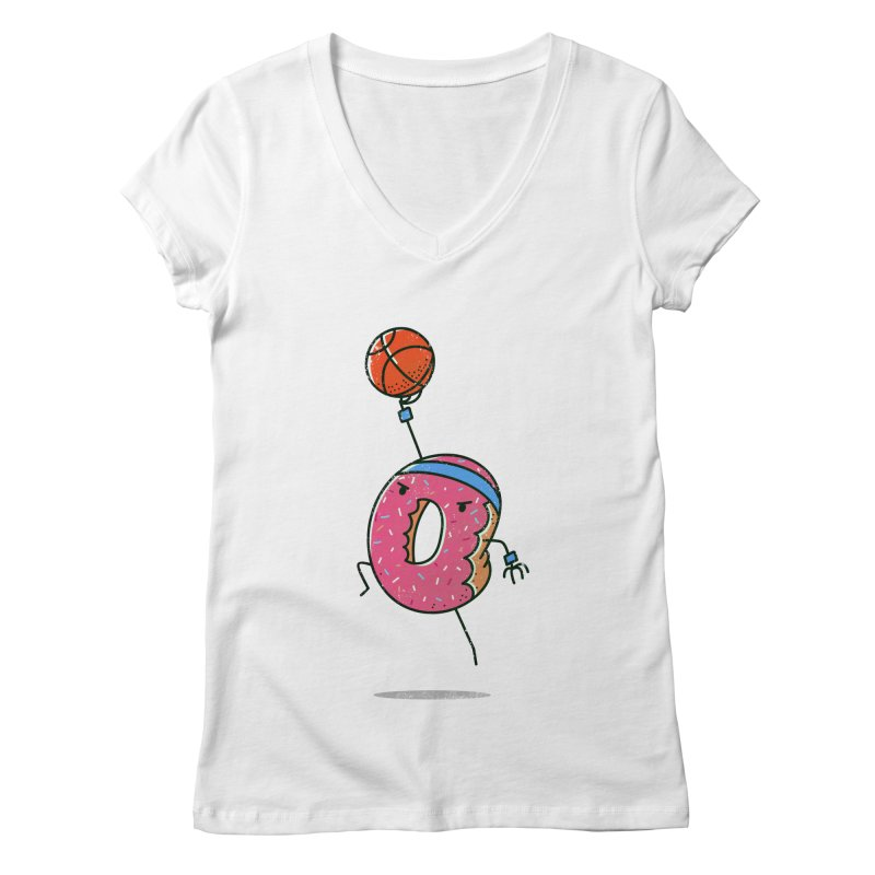 Dunking Donut Women's V-Neck by TipTop's Artist Shop