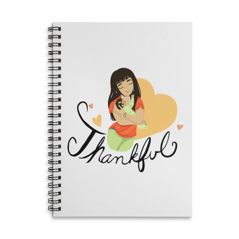 Tit for Tot - Thankful - Asian Momma Accessories Lined Spiral Notebook by Tit for Tot