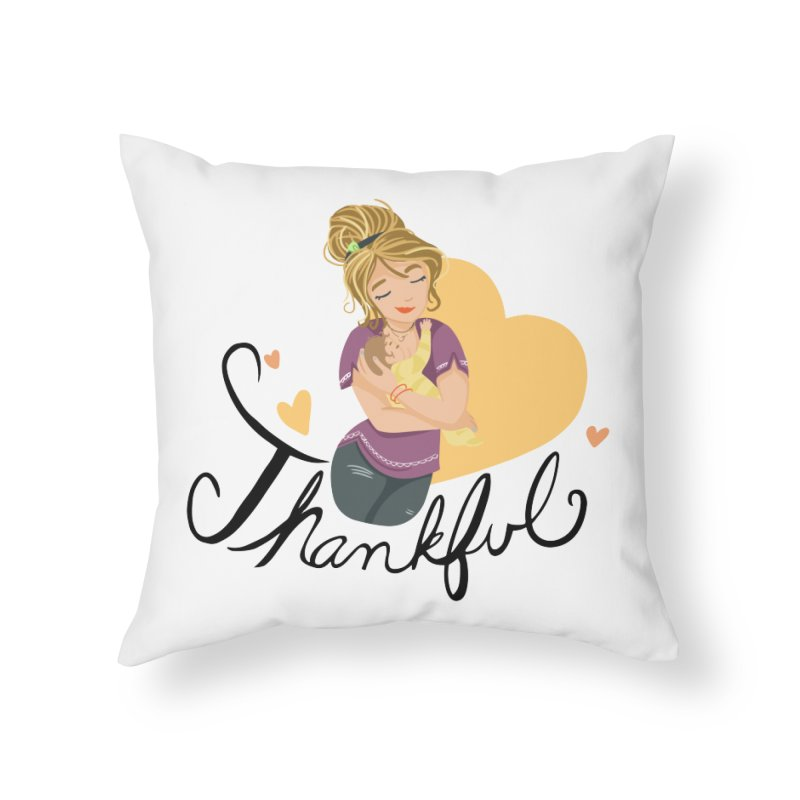 Tit for Tot - Thankful - Blonde Momma Home Throw Pillow by Tit for Tot
