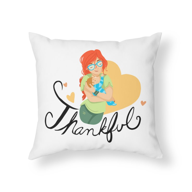 Tit for Tot - Thankful - Hipster Momma Home Throw Pillow by Tit for Tot