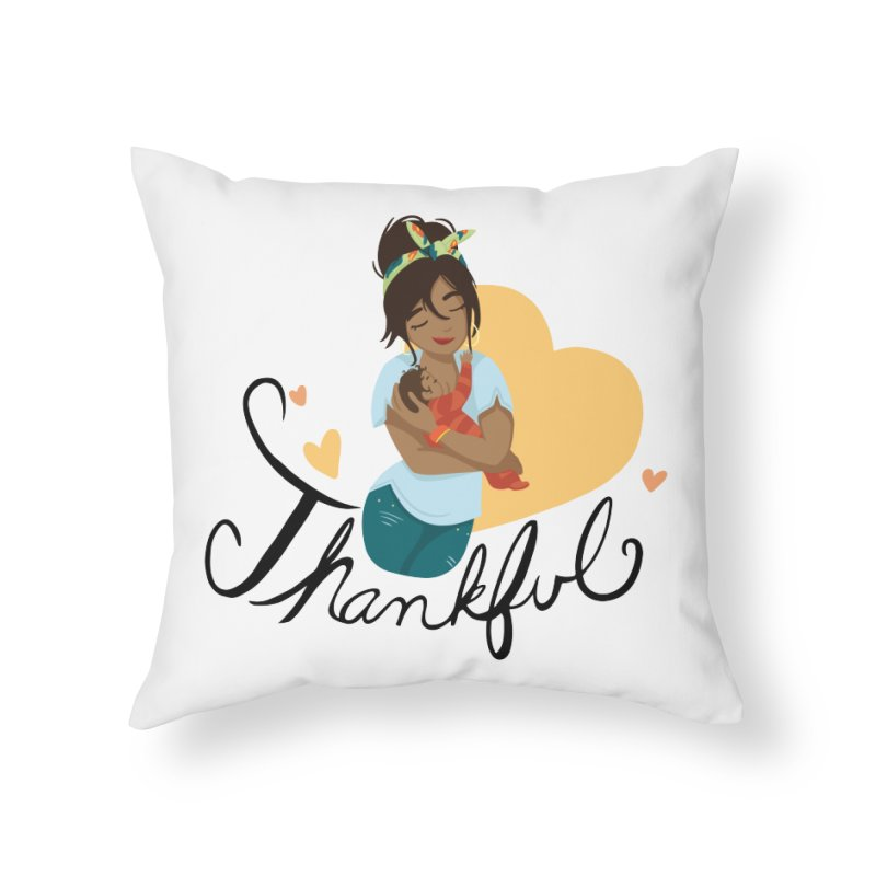 Tit for Tot - Thankful - Latina Momma Home Throw Pillow by Tit for Tot