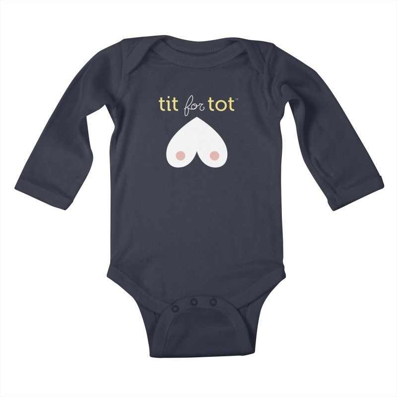 Tit for Tot Logo in Kids Baby Longsleeve Bodysuit Midnight by Tit for Tot