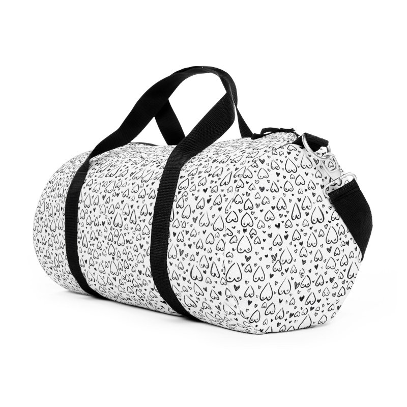 Tit for Tot - Sketch Hearts Pattern Accessories Duffel Bag Bag by Tit for Tot