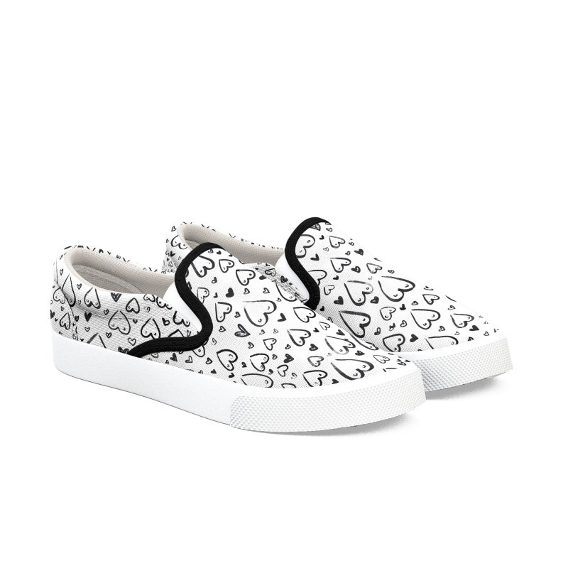 Tit for Tot - Sketch Hearts Pattern in Women's Slip-On Shoes by Tit for Tot