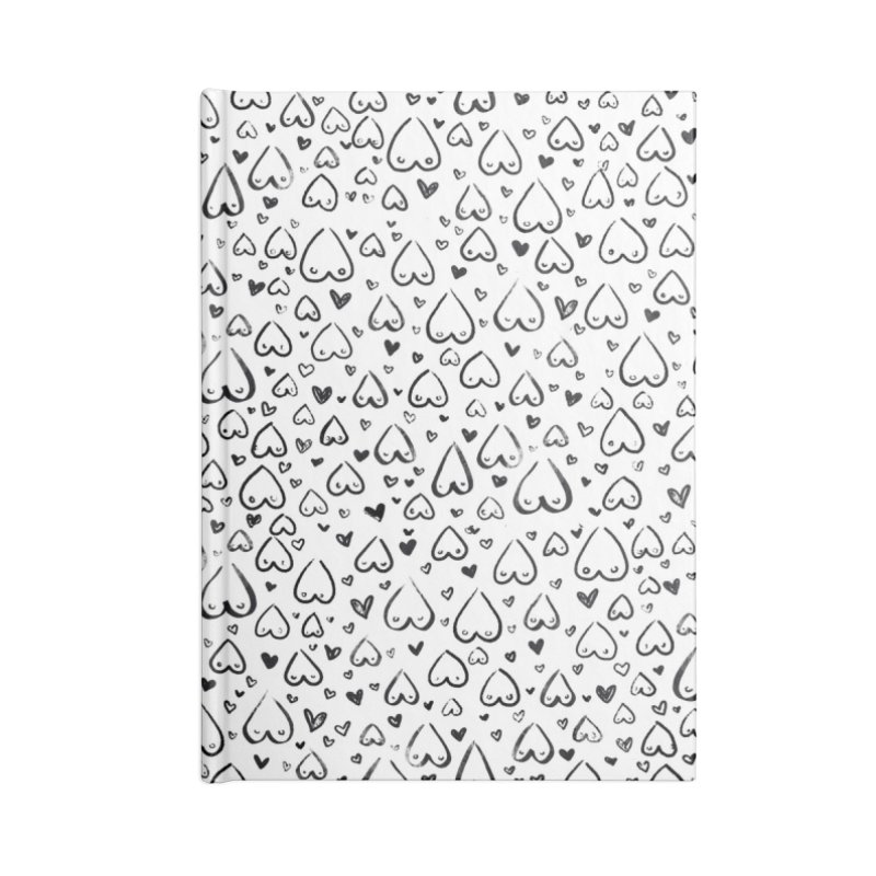 Tit for Tot - Sketch Hearts Pattern Accessories Blank Journal Notebook by Tit for Tot