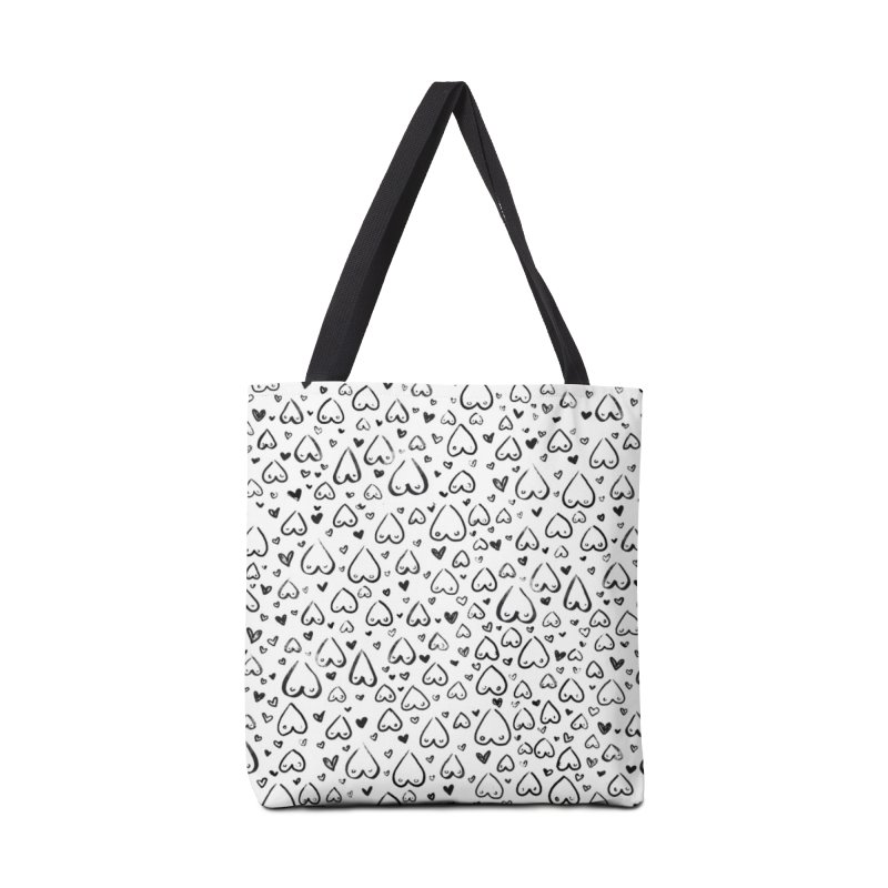 Tit for Tot - Sketch Hearts Pattern Accessories Tote Bag Bag by Tit for Tot