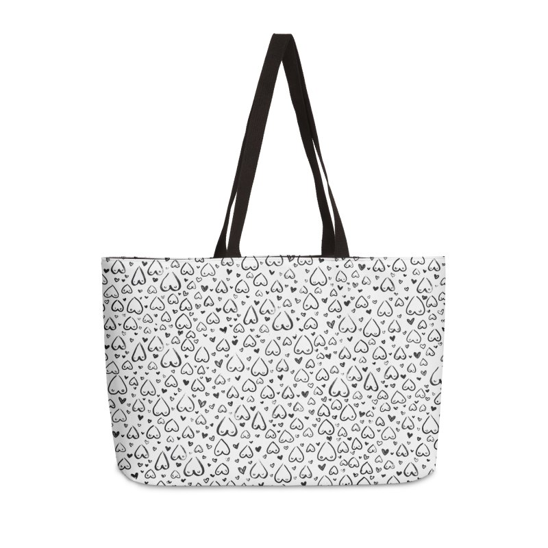 Tit for Tot - Sketch Hearts Pattern Accessories Weekender Bag Bag by Tit for Tot