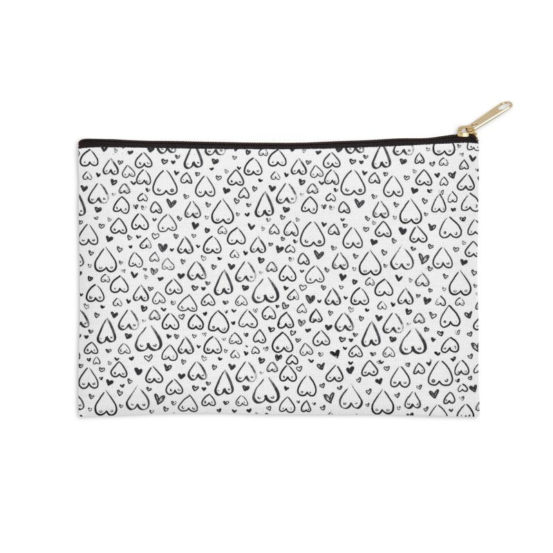 Tit for Tot - Sketch Hearts Pattern Accessories Zip Pouch by Tit for Tot